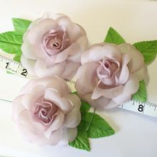 Pack of 3 Vintage Mauve Fabric Roses